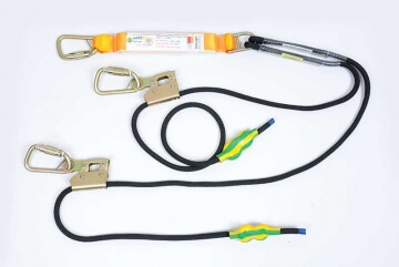Adjustable Twin Tail Rope Lanyard with Triple Action Karabiners