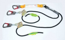 Triple Action Karabiners and Adjustable Twin Tail Rope Lanyard